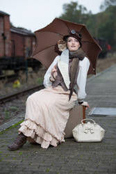 [STOCK] Steampunk Girl sitting on a suitcase