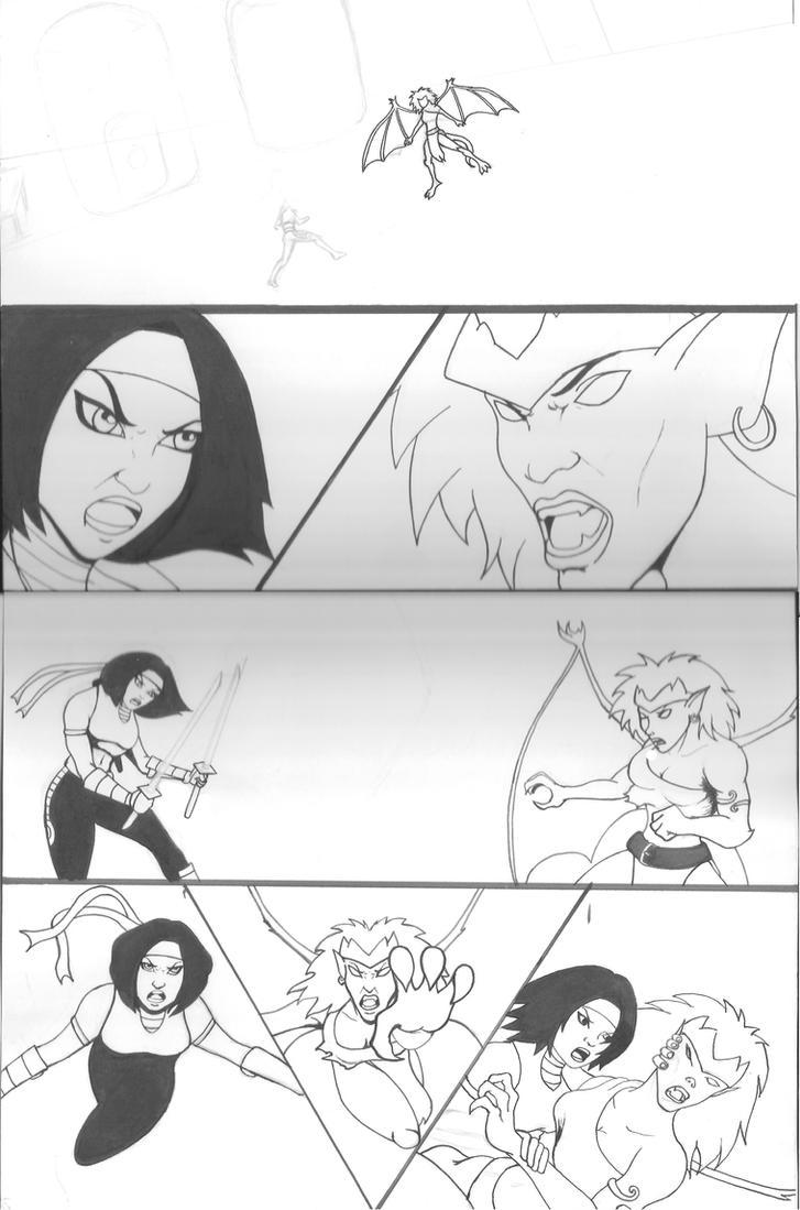 Karai vs Demona line art  WIP by KristSimpson