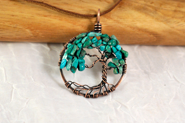 Antique Copper Turquoise Tree of Life Pendant by FreiaInguz