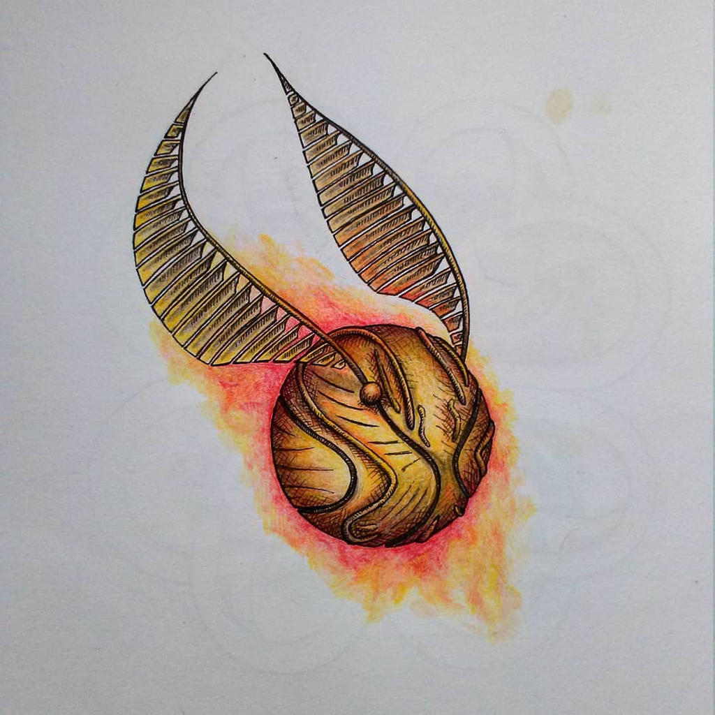 Gonden Snitch Aquarell Tattoo Pattern By Whitebunnyart On