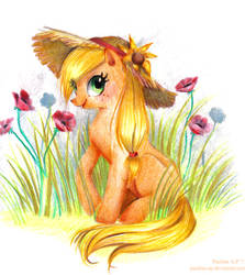 Applejack in a straw hat by Paulina-AP