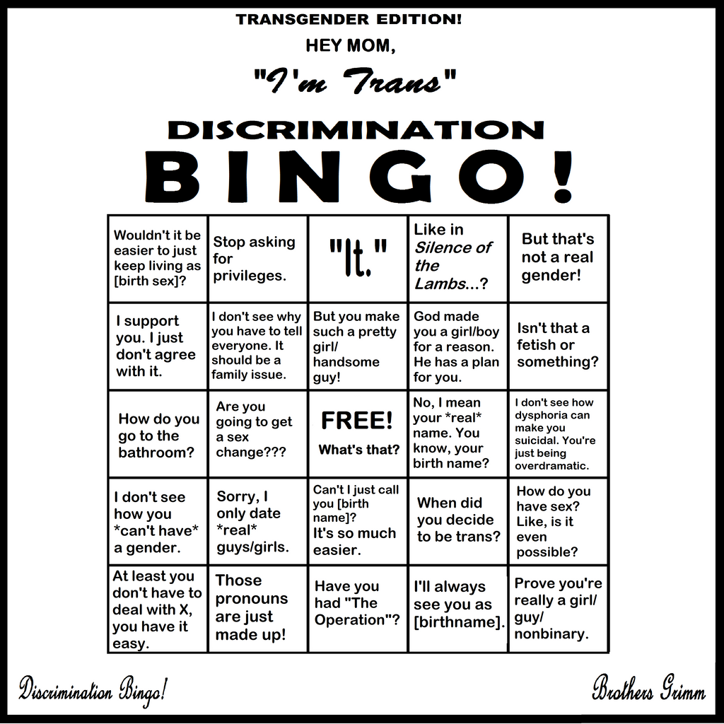 Discrimination Bingo Trans Edition By Grimm Brothers On