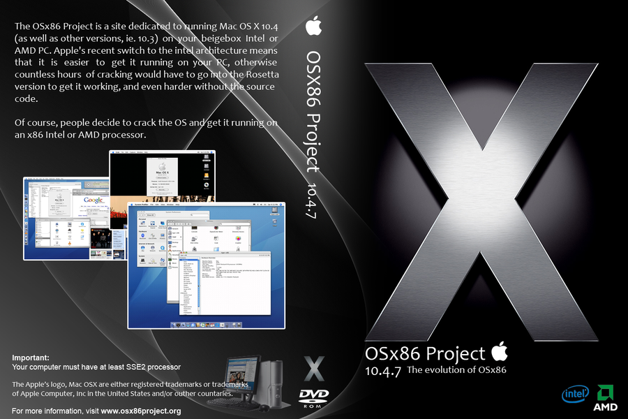 osx86 project Osx86 is a collaborative project to run the apple's mac os x computer operating  systems (104 and above) on non-apple personal computers.