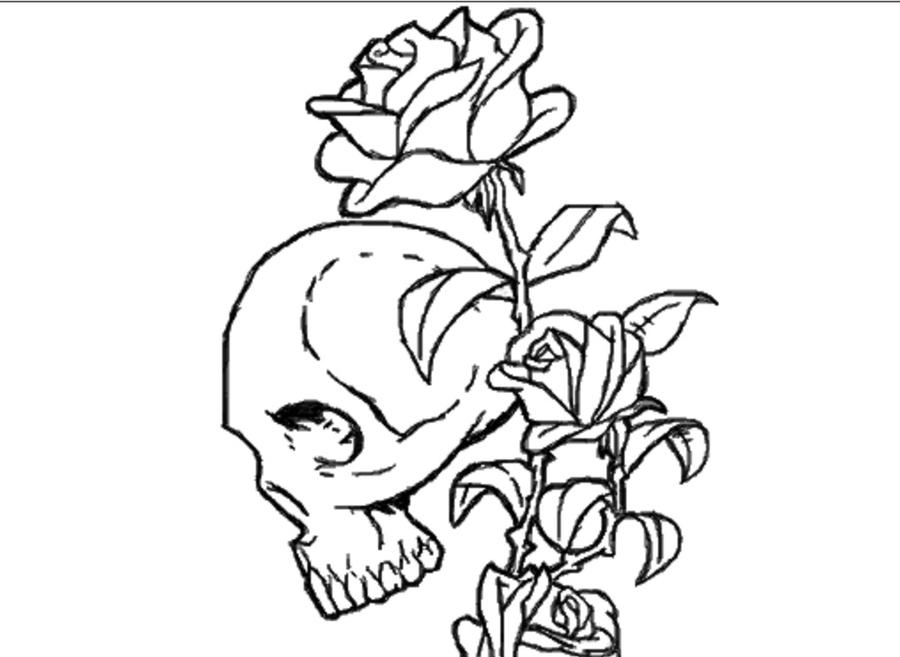 roses and skulls coloring pages - photo#28
