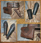 Leather belt set fifth bracers and greaves