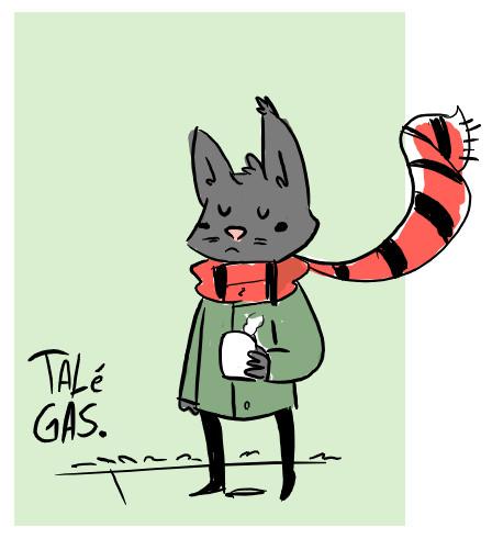 Kitty enjoying his mug of coffee by ItsTalegas