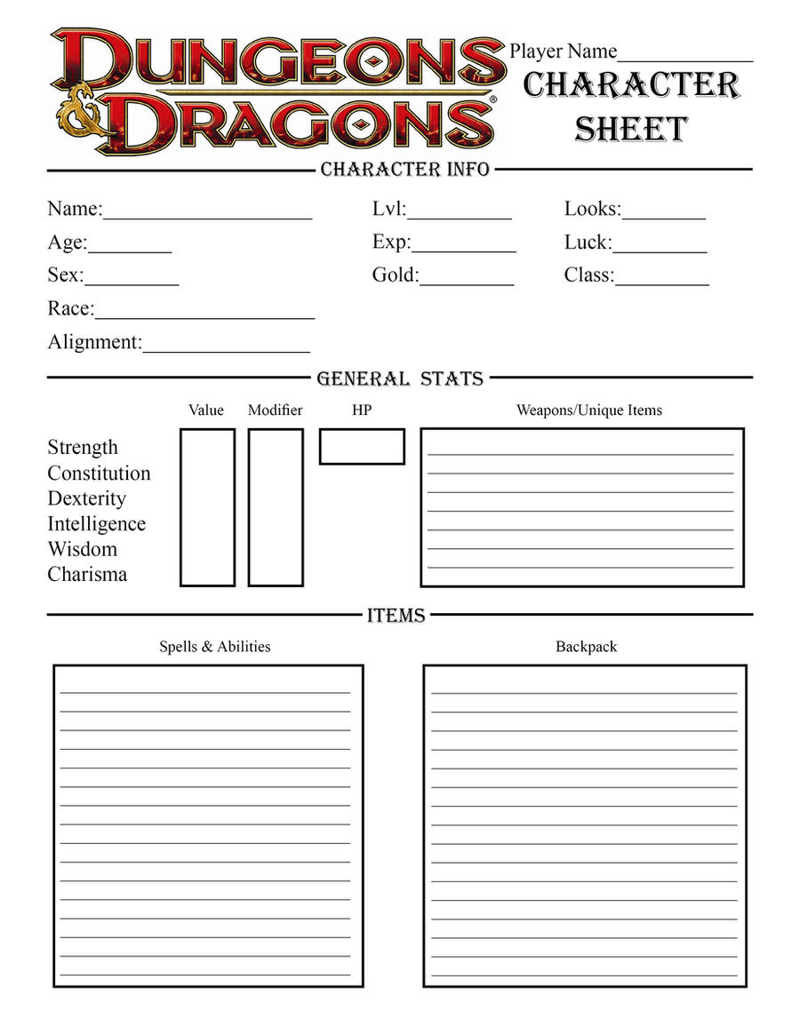Image Result For Blank Dnd Character Sheet