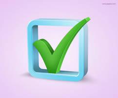 Free PSD 3d Green Check box icon by psdzzz
