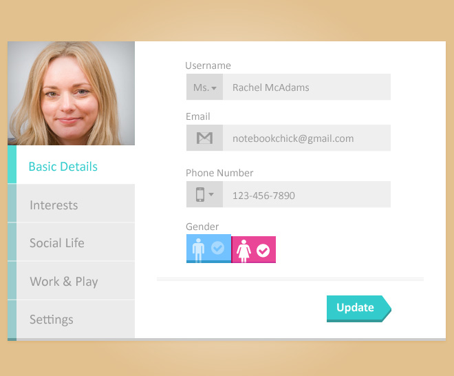 Free psd design of Update User Profile Page by psdzzz