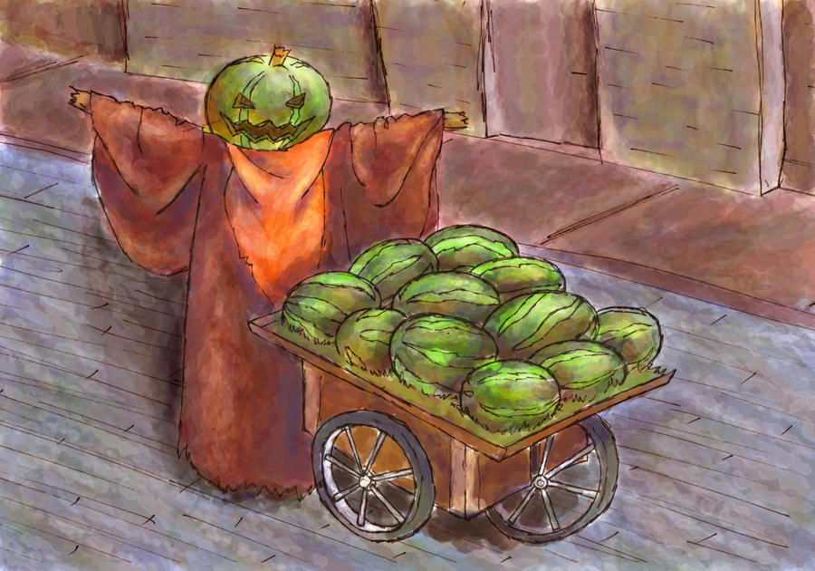 Melon Lord's day job by skylisketches