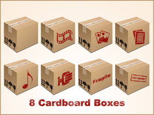 Cardboard Box Icons free psd and png