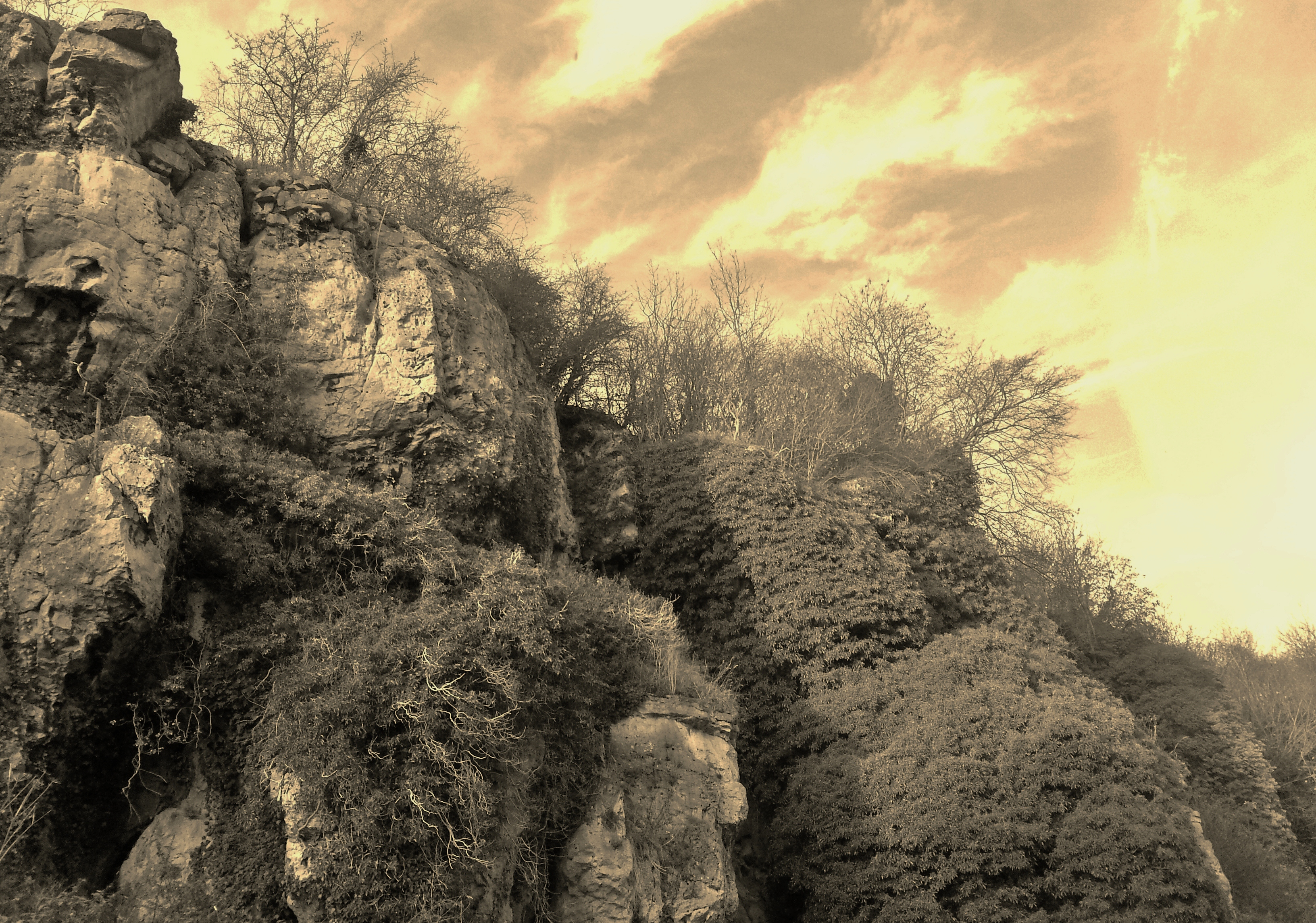 Creswell Crags Rocks 2 by sazzyarmani