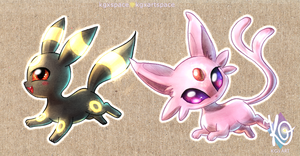 Chibi Sticker Umbreon and Espeon by KGxspace