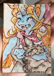 ACEO : look it's snowing!!