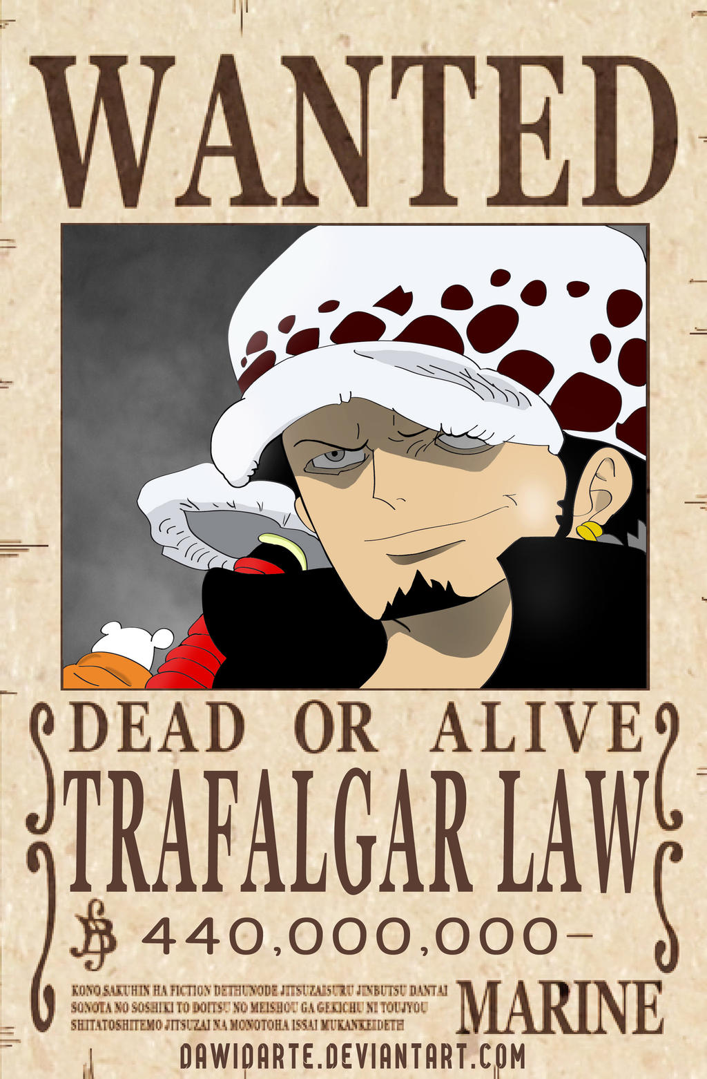 One piece trafalgar law official wanted poster by - One piece wanted poster ...