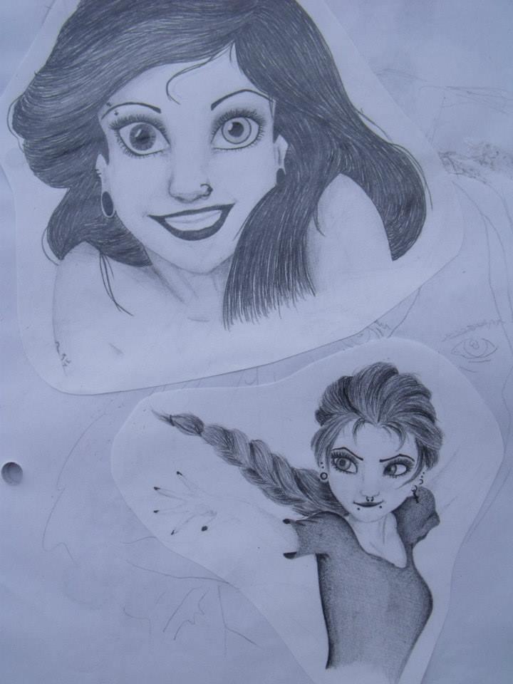 A little different Ariel and Elza by konikanda