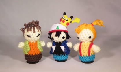 Ash, Brock, and Misty Amigurumi