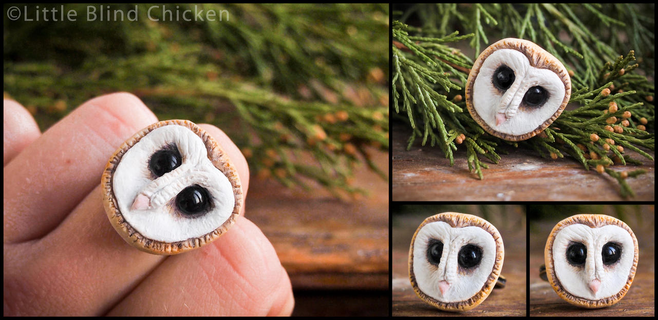 Barn Owl Polymer Clay Ring by Little-Blind-Chicken