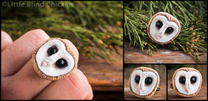 Barn Owl Polymer Clay Ring