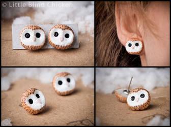 Barn Owls Polymer Clay Earrings by Little-Blind-Chicken