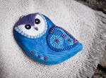 Blue Psycho Owl polymer clay pendant by Little-Blind-Chicken