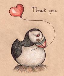 A thankful puffin