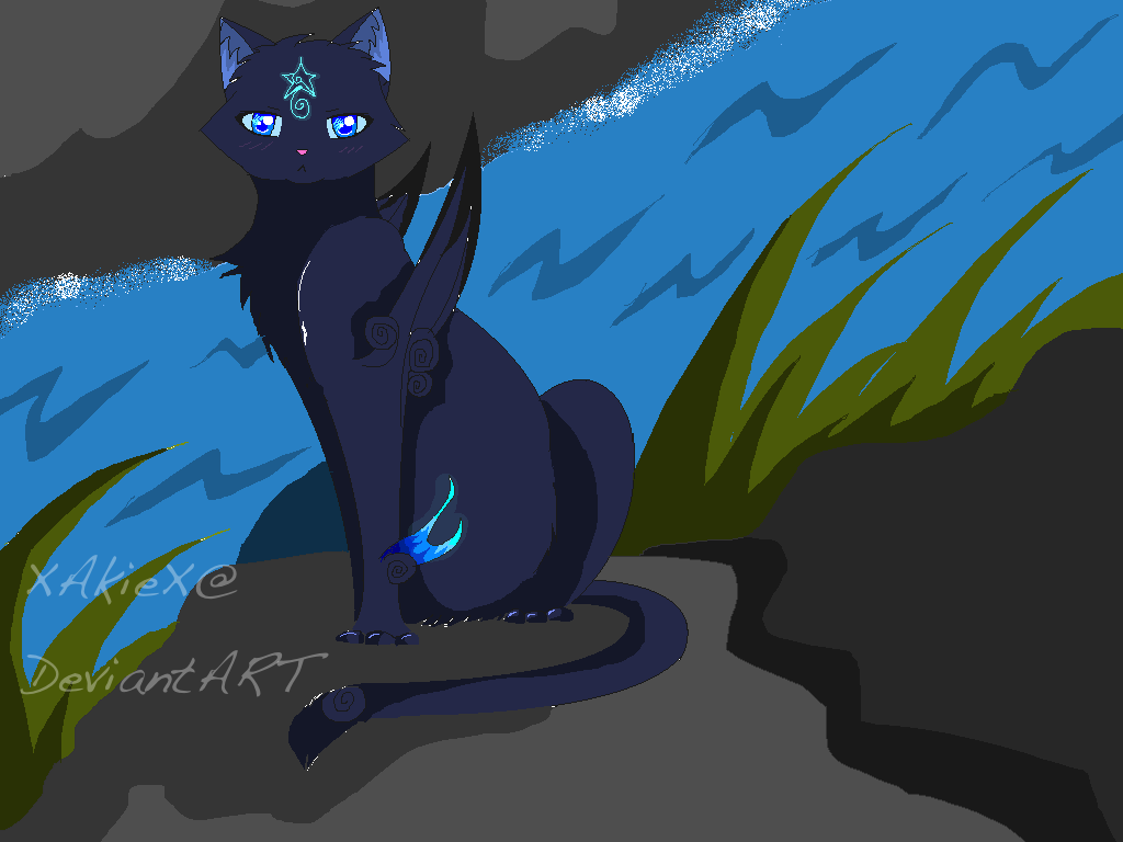 Sad Anime Blue Cat Girl