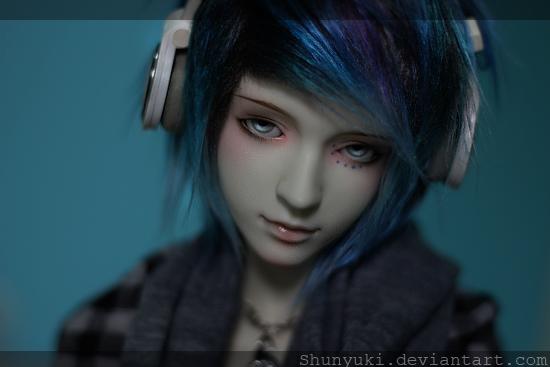 Anime boy dark blue hair