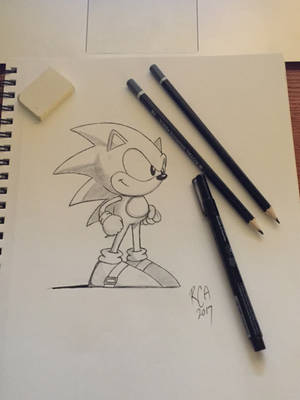 Classic Sonic drawing on a Sketchbook by robertamaya