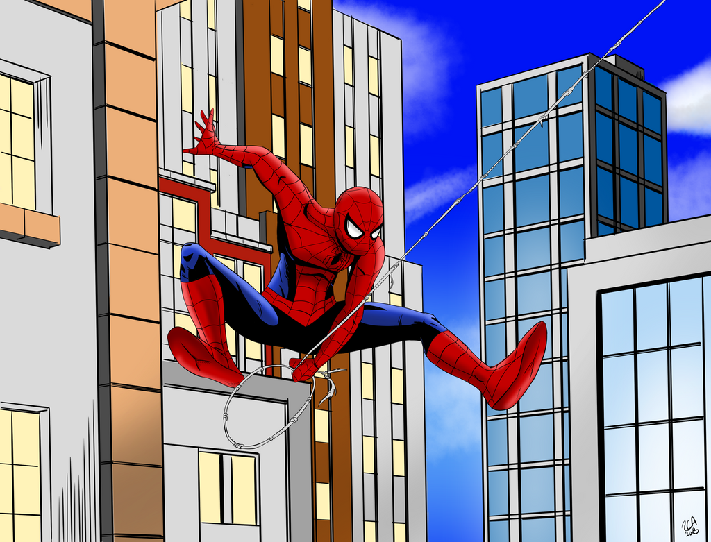Spider-Man swinging by robertamaya