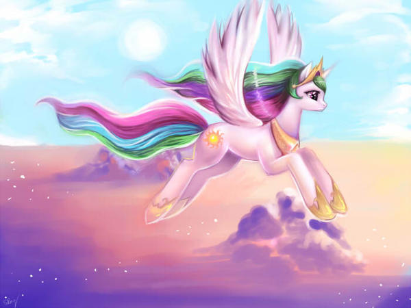 Young Celestia: Soaring through the Heavens by kankitsuru