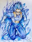 Traditional Commission: Dragonball Z: Vegeta Blue by Sukesha-Ray