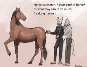*slaps roof of horse*