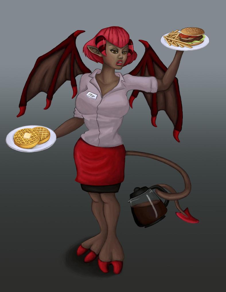 Succubus Waitress by yachichan