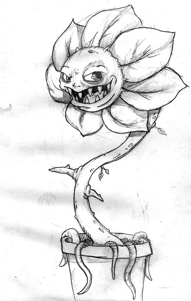 Evil Flower Sketch By Rowanpunk On Deviantart