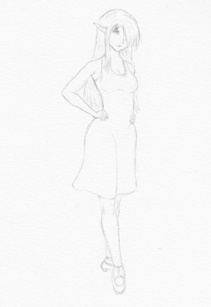 Practice sketch: elf girl 1, sundress by greywolf15