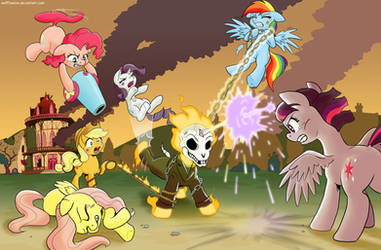Ghost Pony Rider fight scene commission