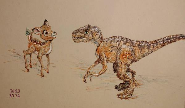 Toy sketch: bambi meets raptor