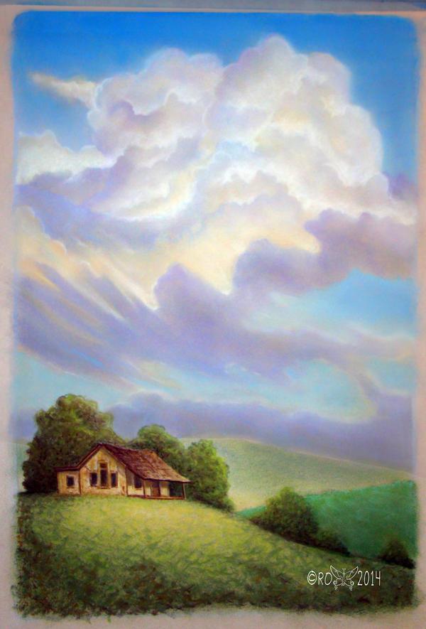 Clouds study 4 - dry pastel - landscape by rroxyann