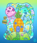 who live in a pineapple under the sea?