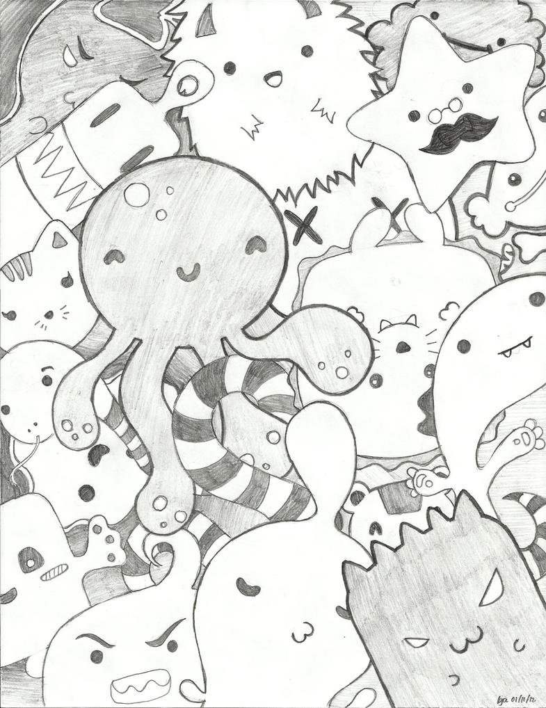 My cute ugly cuddly monsters by ilovesoyjoy on deviantart for Random cute drawings