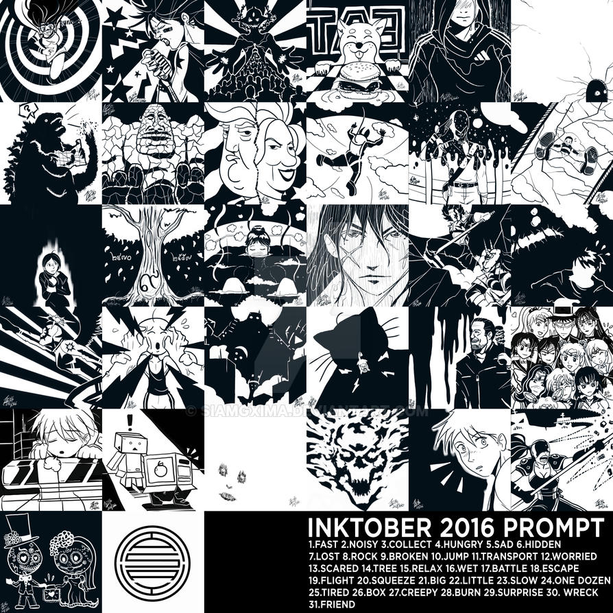 Inktober 2016 Combined Print by siamgxIMA