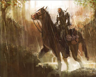 Knight in Foxrain Forest by axl99