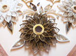 Gold flower element quilling panel