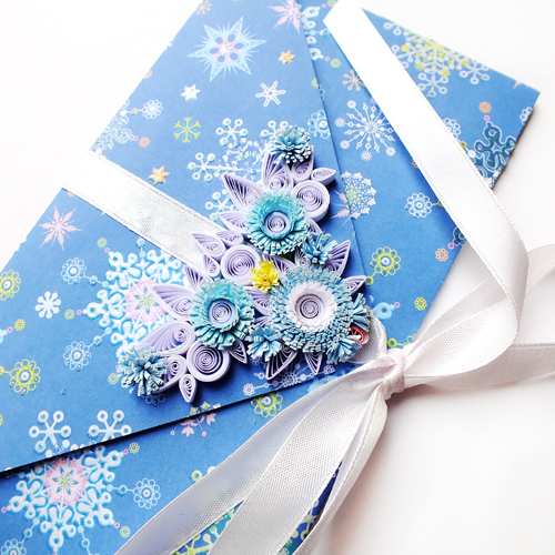 quilling envelope Jack Frost by othewhitewizard