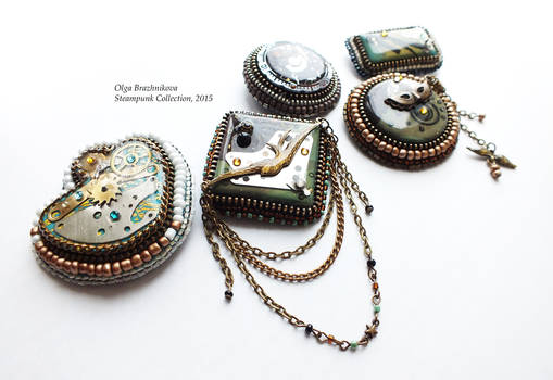 steampunk collection of brooches