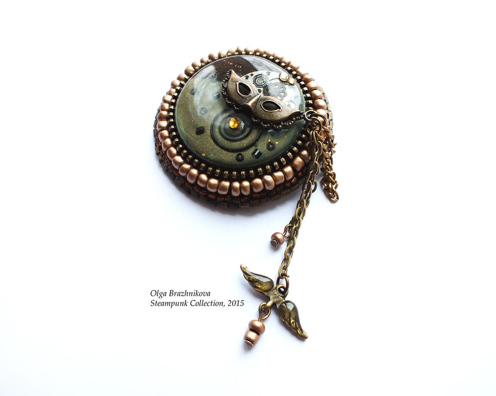 Steampunk brooch Mask by othewhitewizard