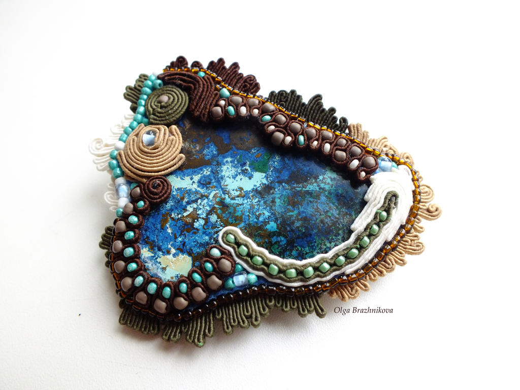 Soutache brooch Forest Fantasy by othewhitewizard