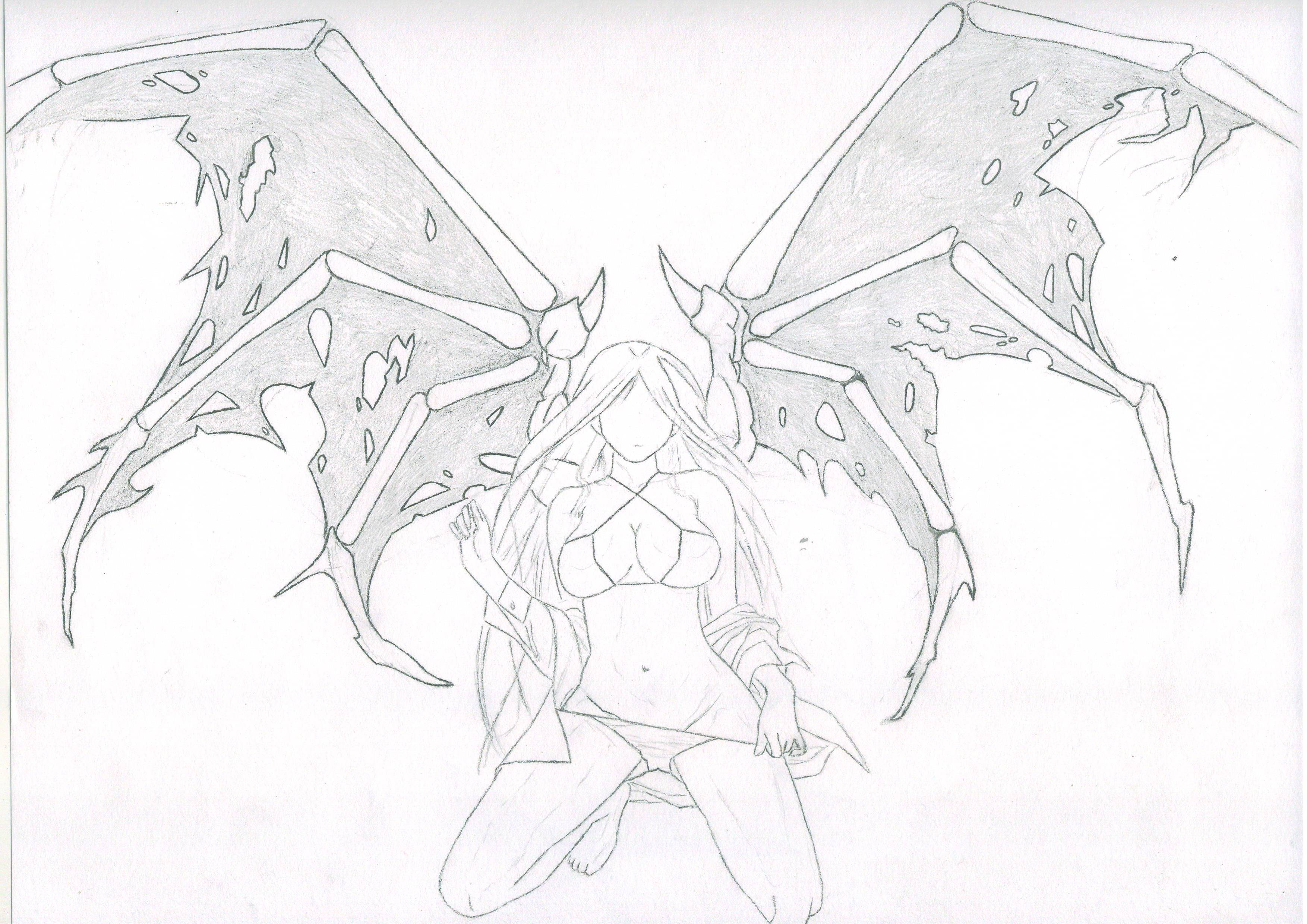 fallen angel coloring pages - fallen angel outline by onecondition on deviantart