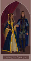 Noldorin Court Portrait: Fingolfin and Anaire by 0torno